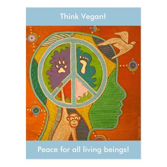 Carte postale vegan peace