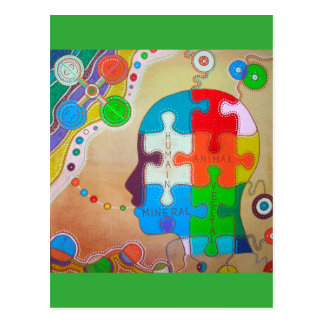 Carte postale vegan puzzle