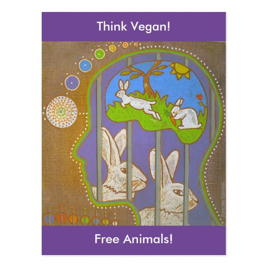 Carte postale vegan rabbit liberation