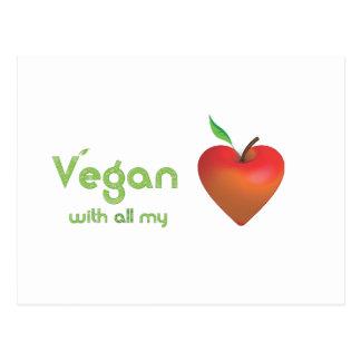 Carte Postale Végétalien de tout mon coeur (coeur rouge de