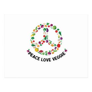 Carte Postale Végétalien végétarien végétal de signe de paix