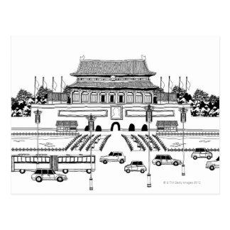 Carte Postale Véhicules dans la pagoda