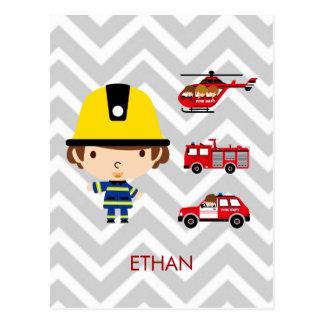 Carte Postale Véhicules de secours de pompier sur Chevron