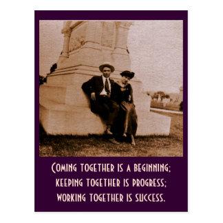 Carte Postale Venez ensemble est un début ; conservation