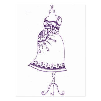 Carte Postale Ventre enceinte de henné