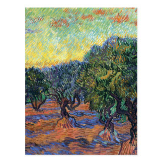 Carte Postale Verger olive de Van Gogh avec le ciel orange
