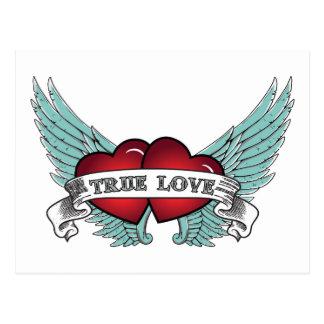 Carte Postale Véritable coeur à ailes d'amour par rockabilly