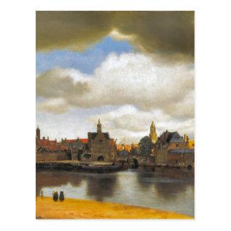 Carte Postale Vermeer vintage, vue de Delft