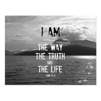 Carte Postale Vers de bible : Je suis la manière, vérité, la vie