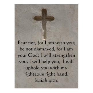 Carte Postale Vers inspiré de bible de 41:10 d'Isaïe