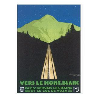 Carte Postale Vers Le Mont. Affiche vintage de voyage de Blanc