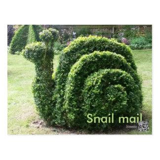 Carte Postale Vert mignon d'amusement de snail mail topiaire de