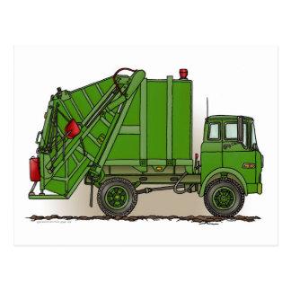 Carte postale verte de camion à ordures