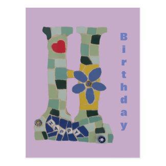 Carte Postale Verticale Cust de mosaïque de joyeux anniversaire.