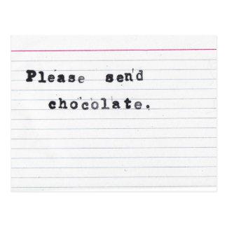 Carte Postale Veuillez envoyer le chocolat