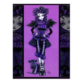 Carte postale victorienne d'ange de chat gothique