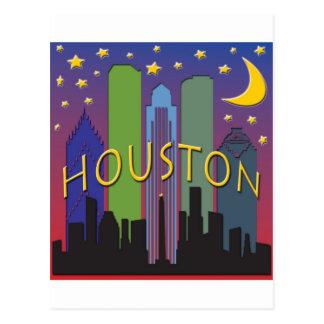 Carte Postale Vie nocturne d'horizon de Houston