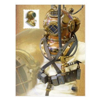 Carte Postale Vieil équipement de plongée, histoire de musée de