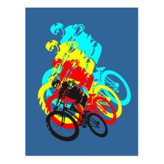 Carte Postale Vieille école MTB/wheelie vélo de procès