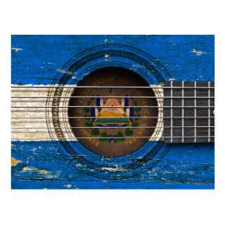 Carte Postale Vieille guitare acoustique avec le drapeau du