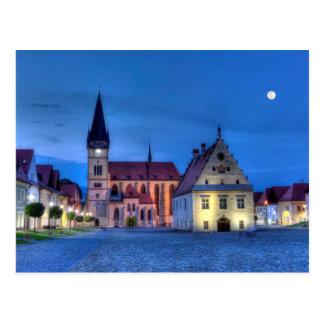 Carte Postale Vieille place dans Bardejov, Slovaquie, HDR