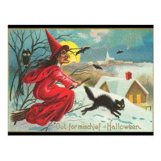 Carte Postale Vieille sorcière de Halloween de mode, vol, Kitty