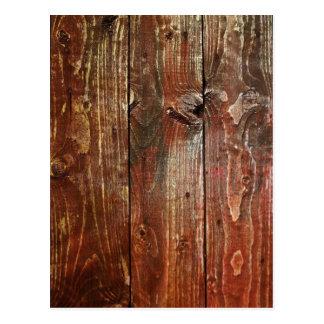Carte Postale Vieille texture en bois rouge de mur