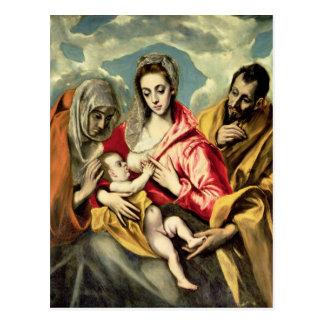 Carte Postale Vierge et enfant avec des solides solubles. Anne