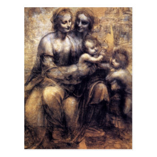 Carte Postale Vierge et enfant avec le croquis de St Anne