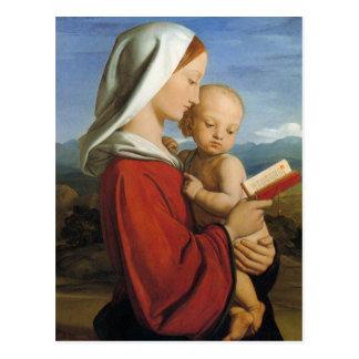 Carte Postale Vierge et enfant écossais du 19ème siècle