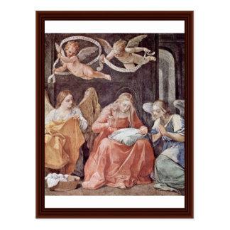 Carte Postale Vierge Marie de couture et anges par Reni Guido