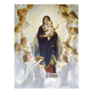 Carte Postale Vierge Marie et Jésus avec des anges