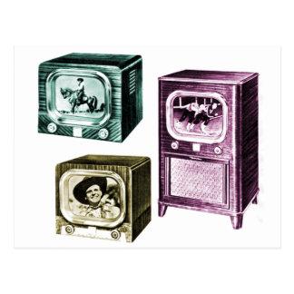 Carte Postale Vieux B&W téléviseurs de télévision du kitsch