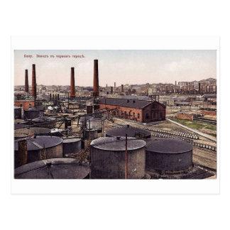 Carte Postale Vieux Bakou - ville noire - usine d'huile
