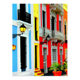 Carte Postale Vieux San Juan - les Chambres de rangée vibrantes