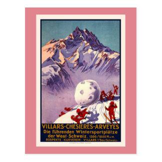 Carte Postale Villars, Suisse, affiche vintage de voyage
