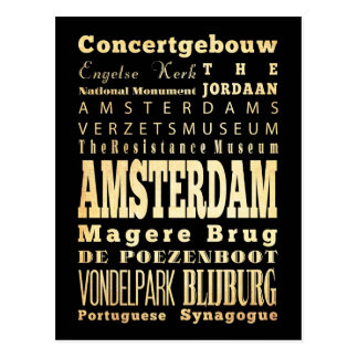 Carte Postale Ville d'Amsterdam d'art de typographie d'Olanda