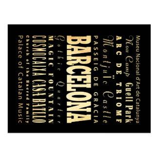 Carte Postale Ville de Barcelone d'art de typographie de