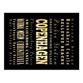 Carte Postale Ville de Copenhague d'art de typographie du