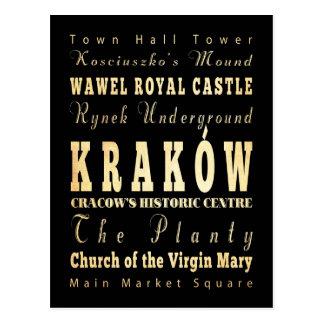 Carte Postale Ville de Kraków d'art de typographie de la Pologne