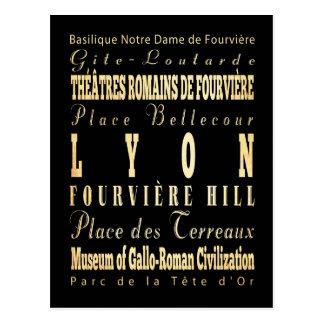 Carte Postale Ville de Lyon d'art de typographie de la France