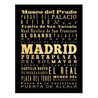 Carte Postale Ville de Madrid d'art de typographie de l'Espagne