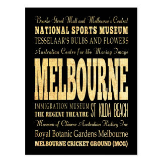 Carte Postale Ville de Melbourne d'art de typographie de