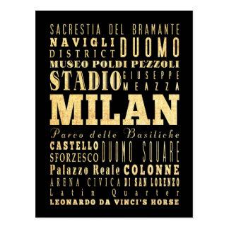 Carte Postale Ville de Milan d'art de typographie de l'Italie