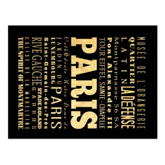 Carte Postale Ville de Paris d'art de typographie de la France