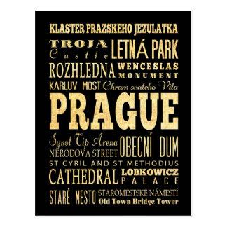 Carte Postale Ville de Prague d'art de typographie de République