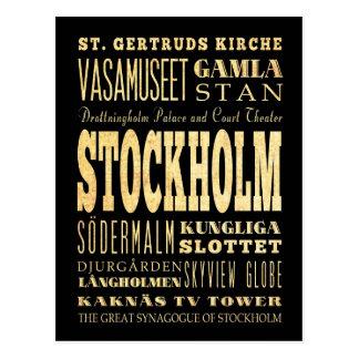 Carte Postale Ville de Stockholm d'art de typographie du