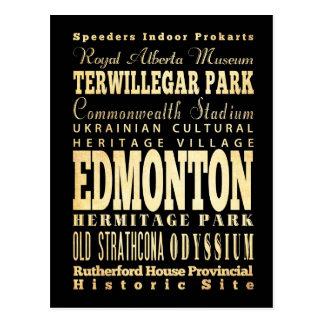 Carte Postale Ville d'Edmonton d'art de typographie du Canada