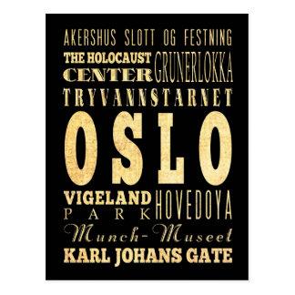 Carte Postale Ville d'Oslo d'art de typographie de la Norvège