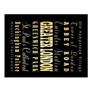 Carte Postale Ville du grand Londres de la typographie de